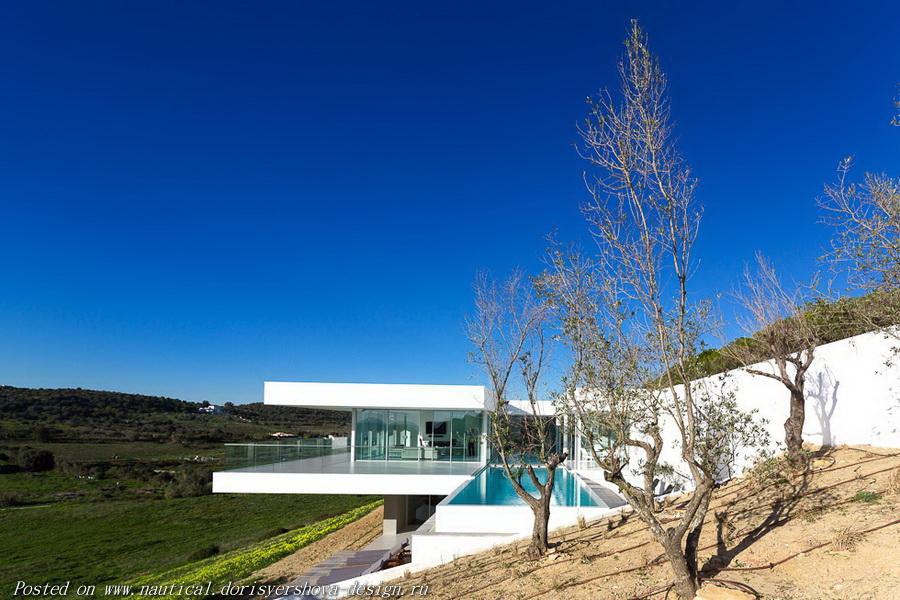 вилла в Португалии в стиле минимализм, дом у моря, дом у океана, архитектура индивидуального жилого дома, архитектура, архитектурный дизайн