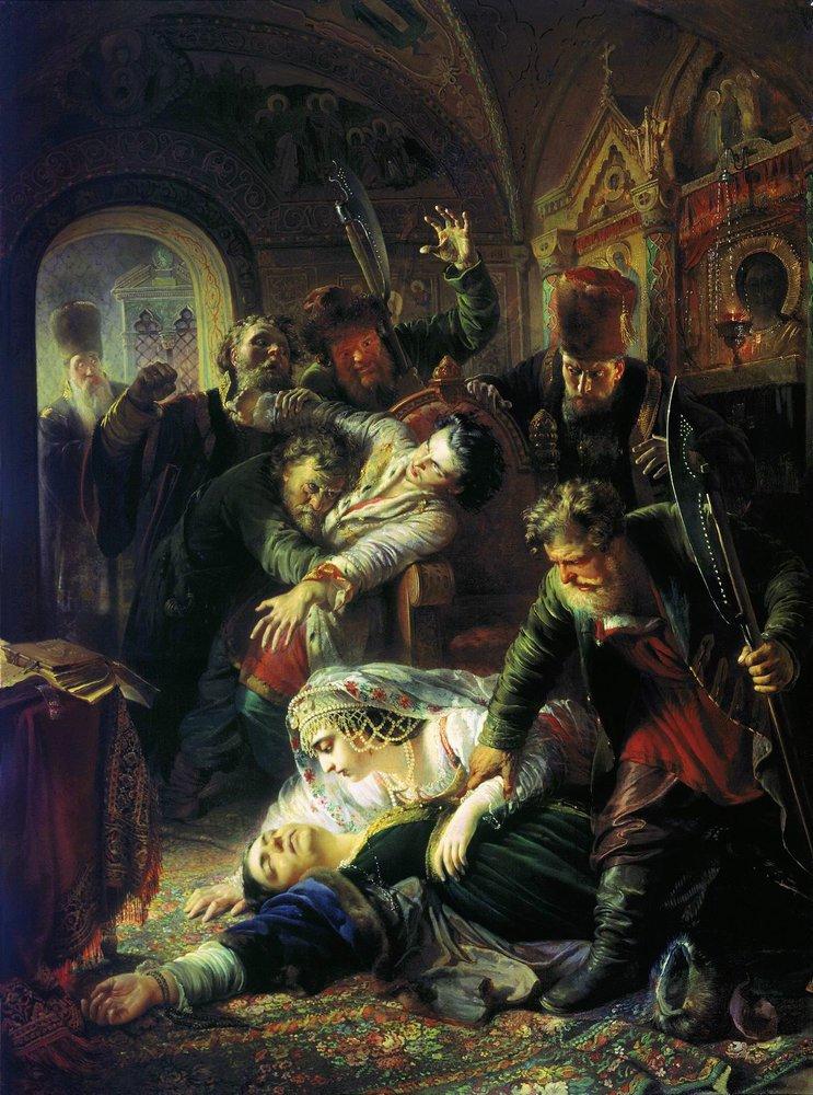 Makovsky_False_Dmitrys_agents_murdering_Feodor_Godunov_and_his_mother_1862.jpg