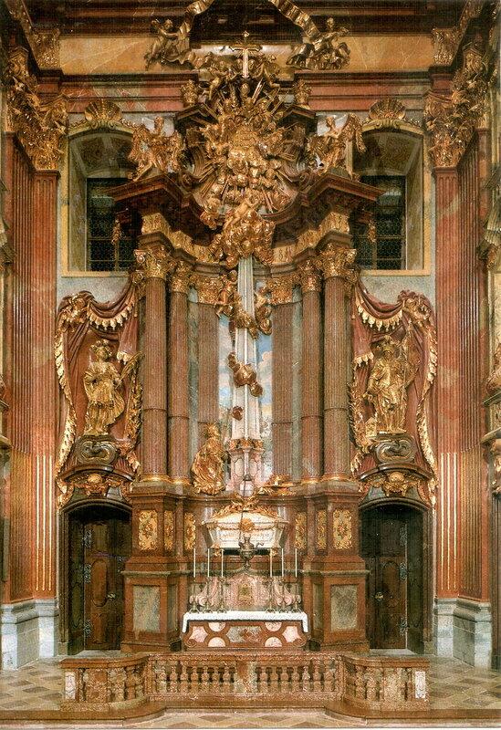 Алтарь Святого Коломана (западная часть монастырской церкви). Коломан из Штоккерау (ум. 1012 г.) — святой мученик, покровитель Австрии и путешественников