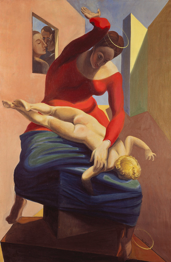 The Virgin Chastises the infant Jesus before Three Witnesses_ André Breton, Paul Éluard, and the Painter (1926)