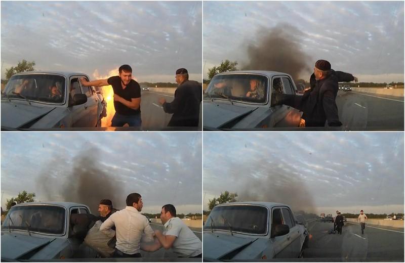 Драматические кадры спасения людей из горящей «Волги»