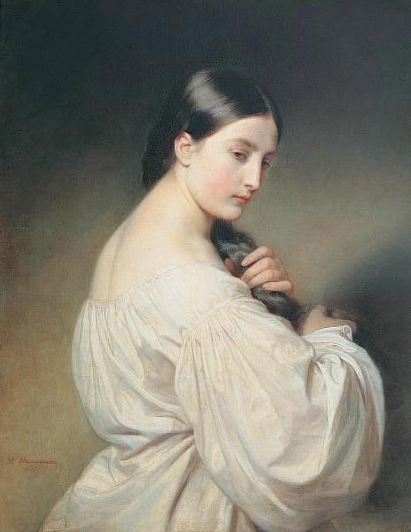 Портрет девушки в белом Франц Ксавьер Винтергальтер  автор  1837  холст, масло  81х64 см
