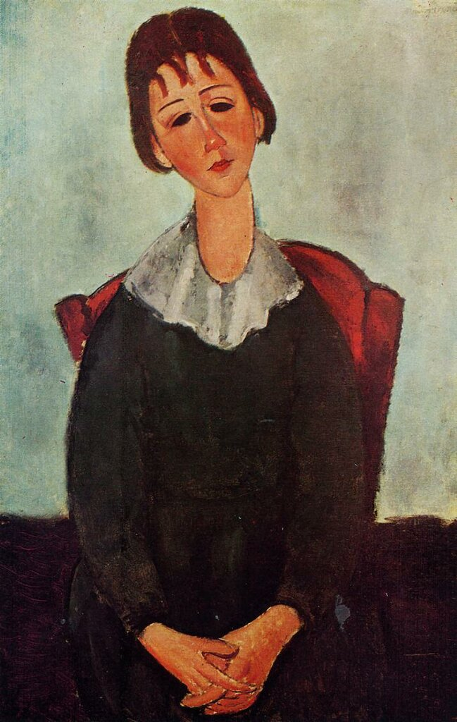 Girl on a Chair (also known as Mademoiselle Huguette) - 1918 - PC - oil on canvas - Height 91.4 cm (35.98 in) Width 60.3 cm (23.74 in).jpeg