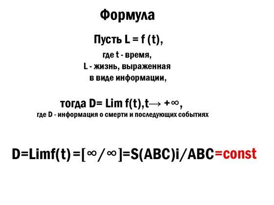 Формулы Юрия Берланда, доказывающие жизнь после смерти.