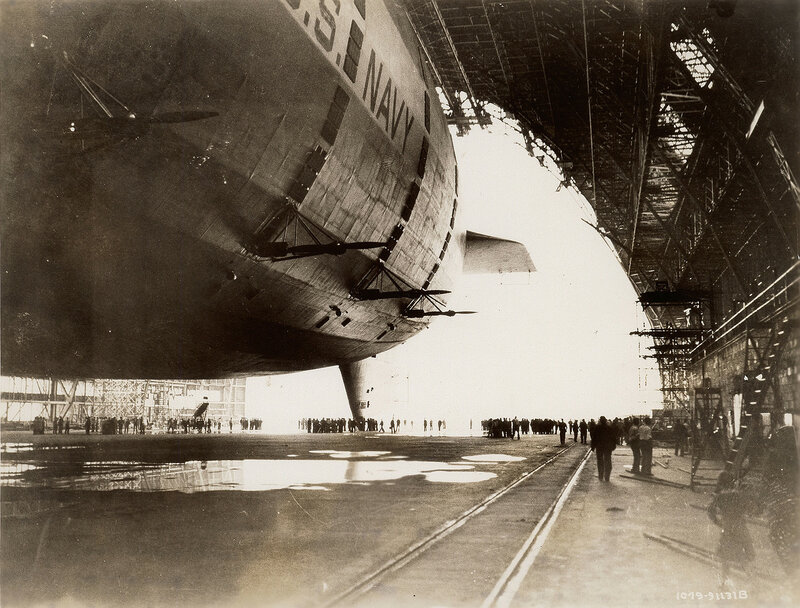 Ready to walk the USS Akron out of Goodyear-Zeppelin dock