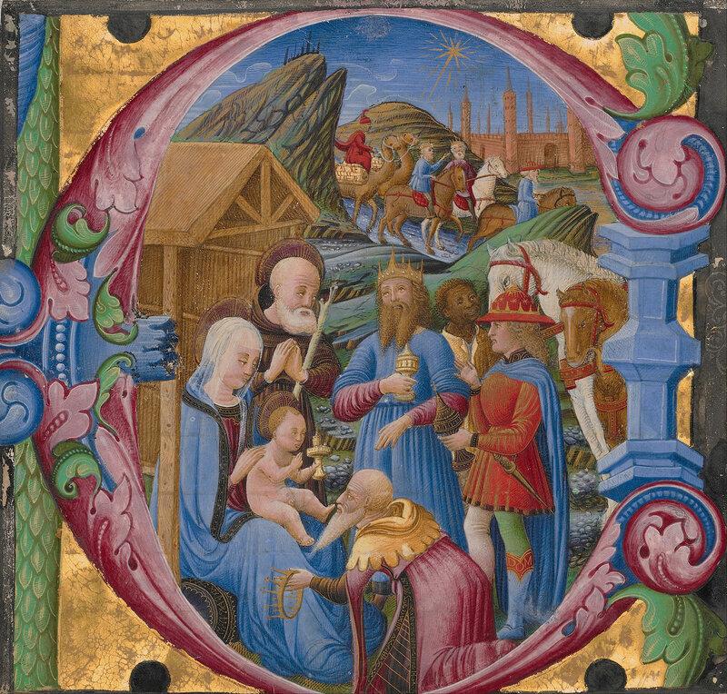Franco dei Russi (Italian, active about 1453 - 1482) - Initial E- Adoration of the Magi