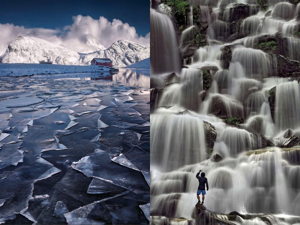 Замерзшее озеро наЛофотенских островах иводопад.