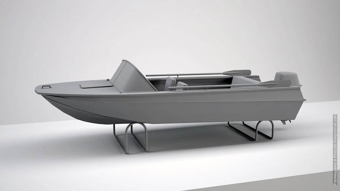 3D модель моторная лодка Казанка