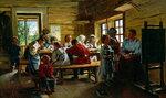 В сельской школе. Художник Владимир Егорович Маковский, 1883.jpg