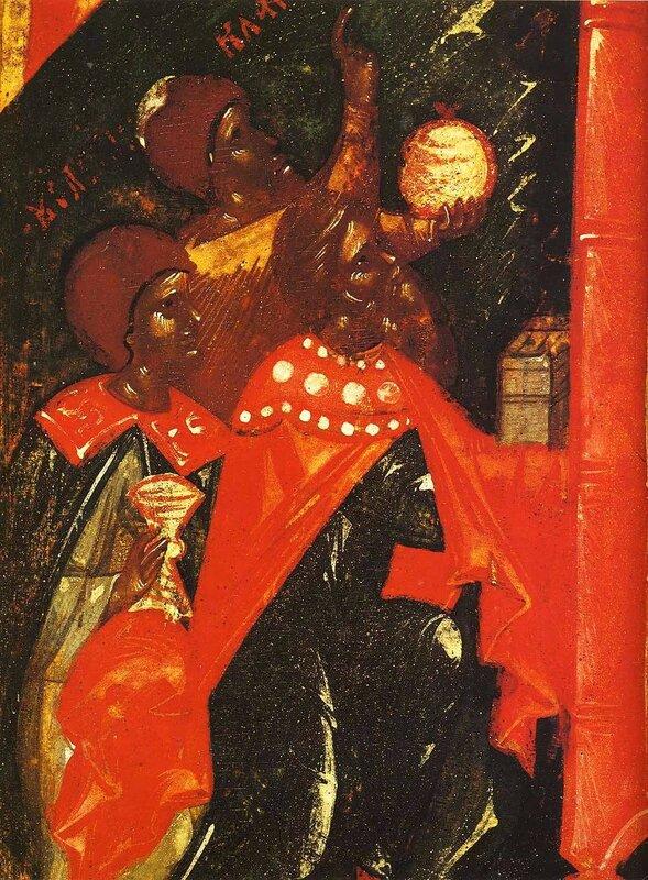 Собор Пресвятой Богородицы. Икона. Псков, конец XIV - начало XV века. Фрагмент. Волхвы.