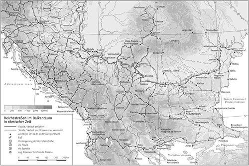 Карта системы римских дорог на территории Балкан
