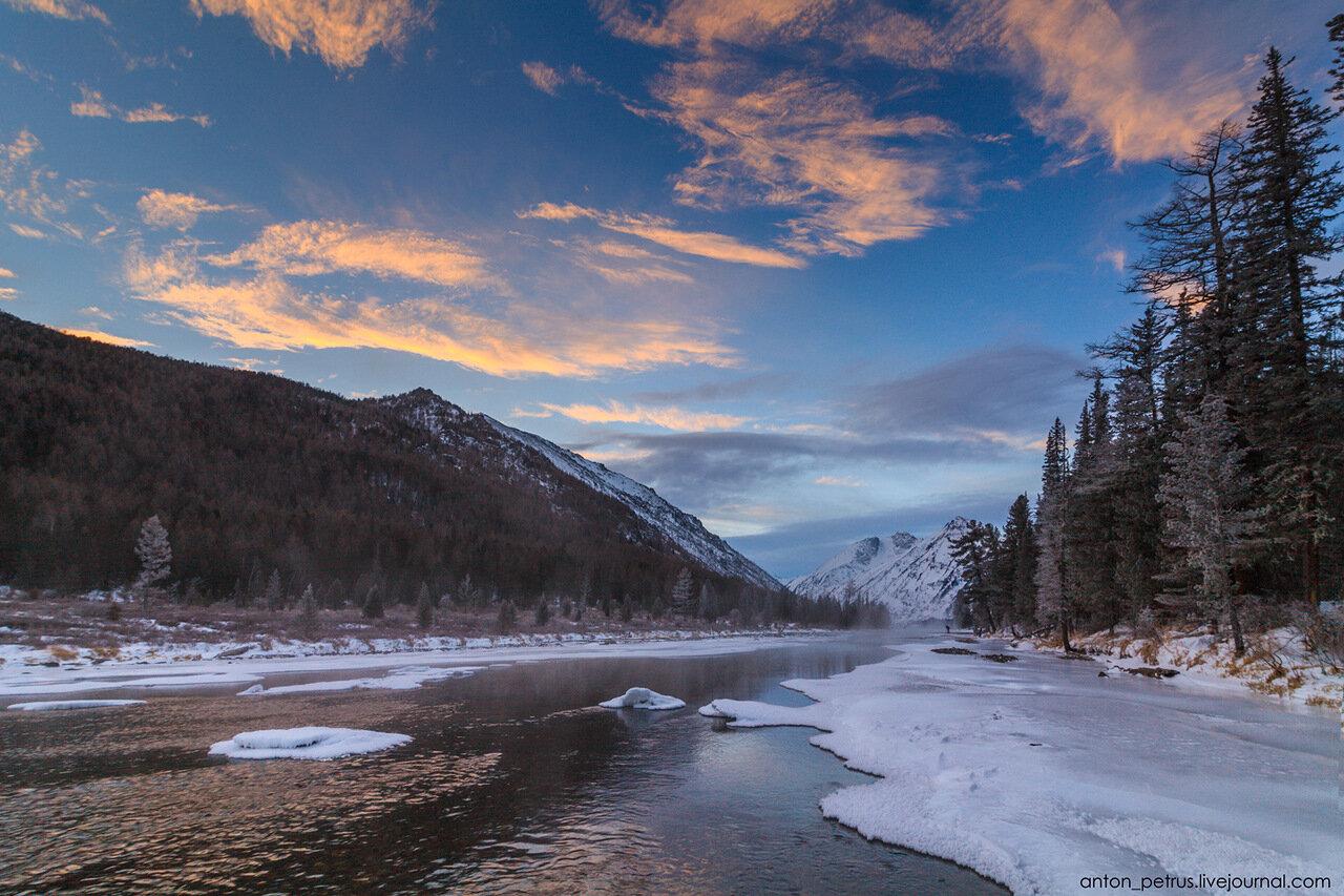 Зимний Алтай. Река Мульта