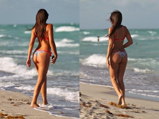 Клаудиа Романи в бикини на пляже в Майами