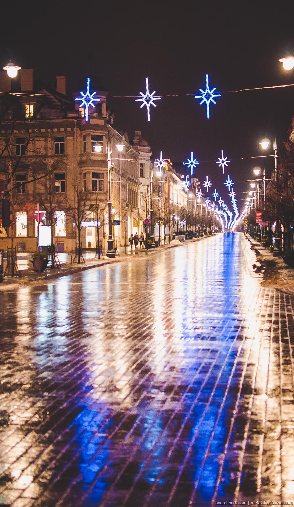 Новогодний Вильнюс, ночной Вильнюс, Литва зимой, Кафедральная площадь Вильнюса