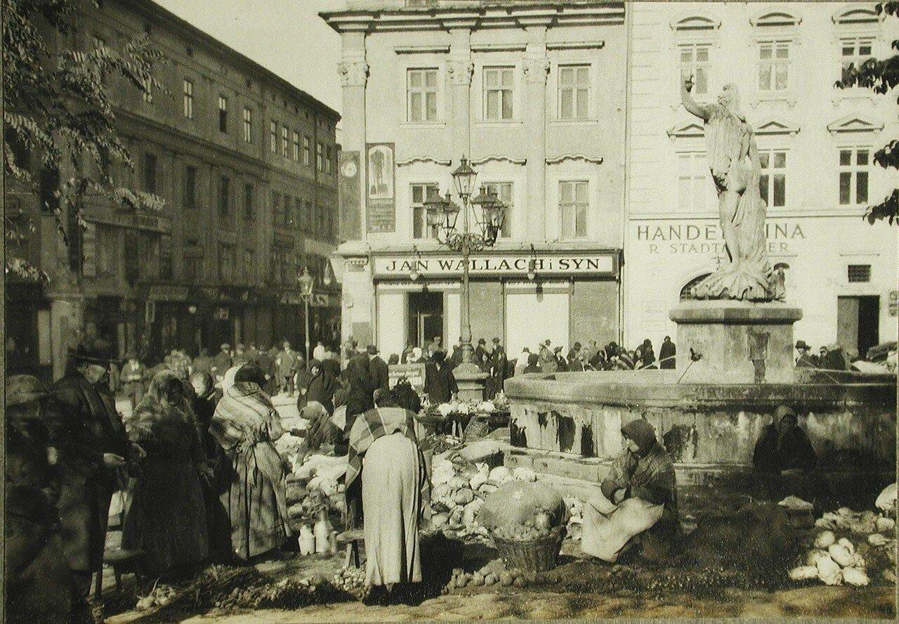 56.Местные жители делают покупки у уличных торговок на рыночной площади. Лемберг
