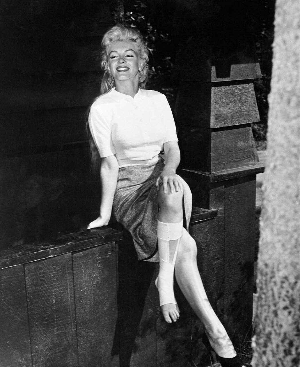 Marilyn Monroe Sitting with Sprained Ankle
