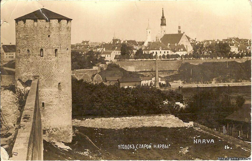 Вид на Нарву из Ивангородской крепости