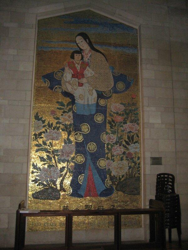 Израиль. Хайфа и Галилея - панно Богородицы с Младенцем, Япония