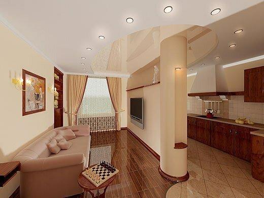 Интерьер студии, гостиная и кухня.