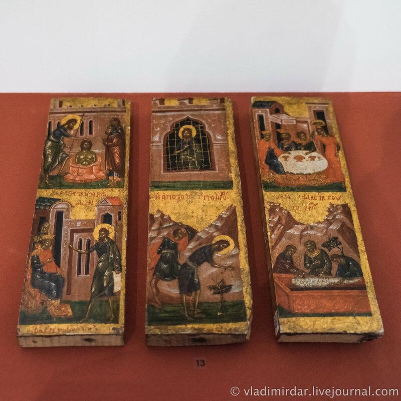 Икона «Сцены из Жития Иоанна Предтечи». Византия. Конец XIV – начало XV в. Дерево; темпера.