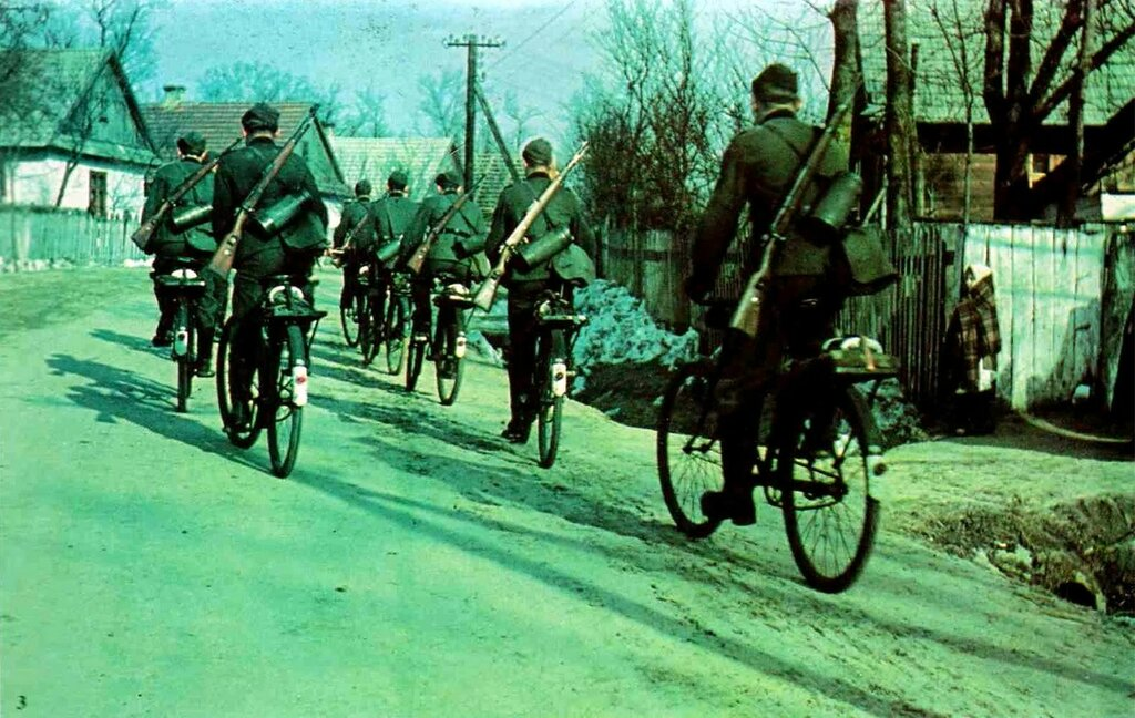 1941 German soldiers reporting to their marshalling areas on bicycle before Operation Barbarossa begin.jpg