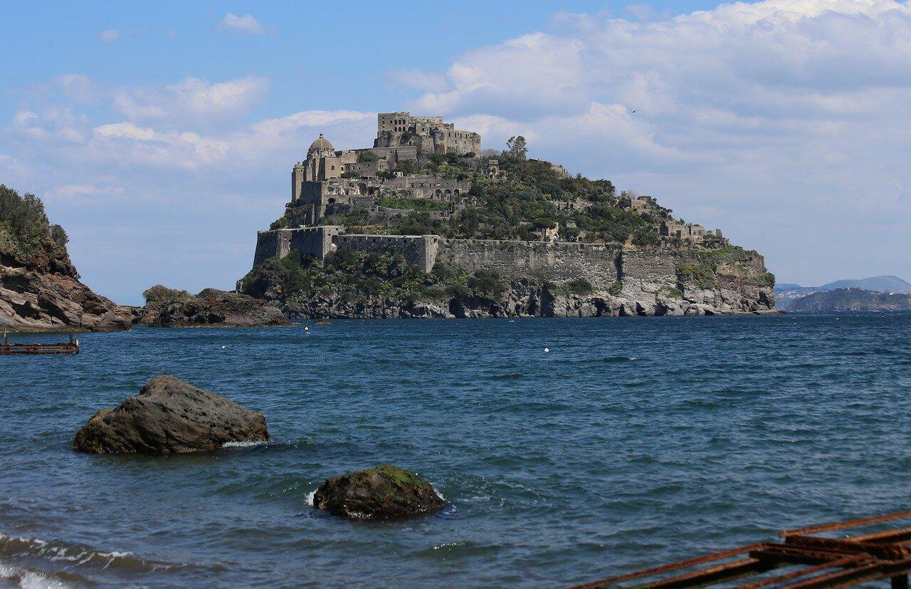 Aragonese castle view from Cartaromana beach, Ischia