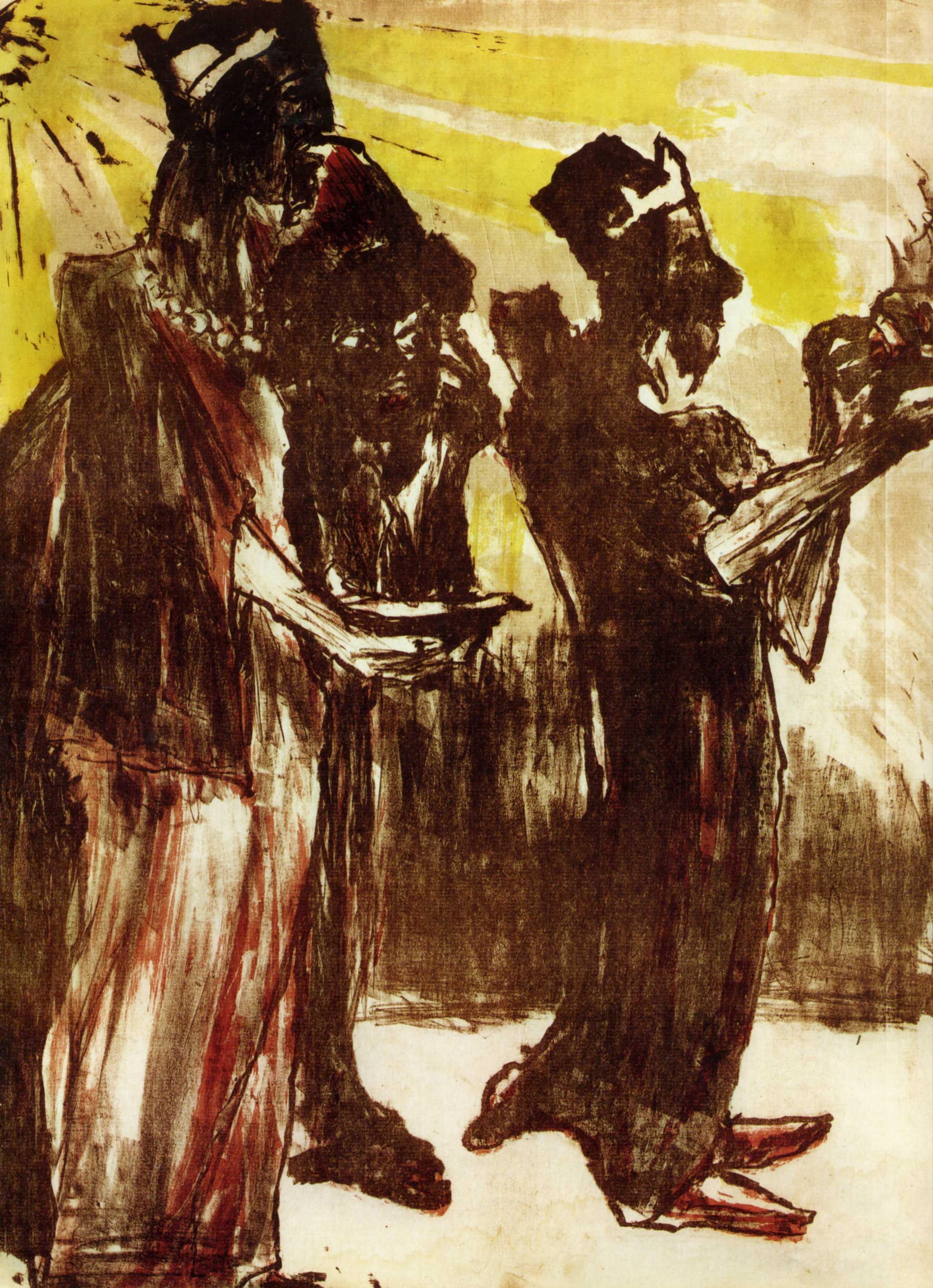 Эмиль Нольде (1867 — 1956) — один из ведущих немецких художников-экспрессионистов, считается одним из величайших акварелистов XX века. 1913. «Волхвы»