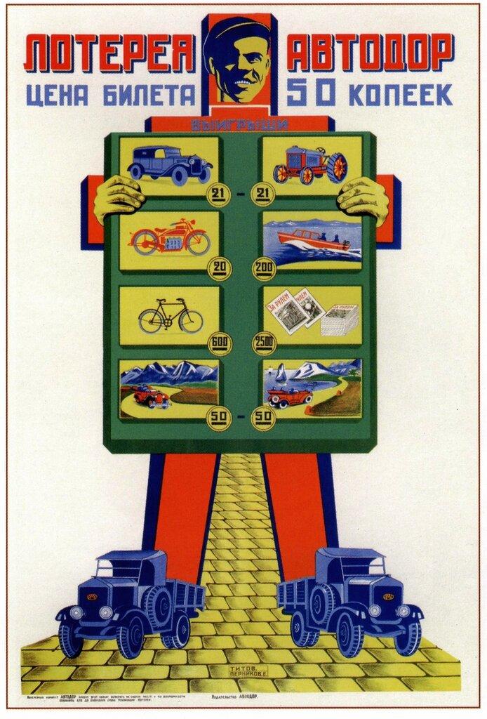 Autodor lottery, poster by Boris Titov and Efim Pernikov, 1929.jpg