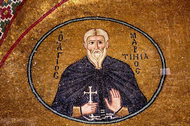 Святой Преподобный Мартиниан. Мозаика монастыря Осиос Лукас (Преподобного Луки), Греция. 1030 - 1040-е годы.