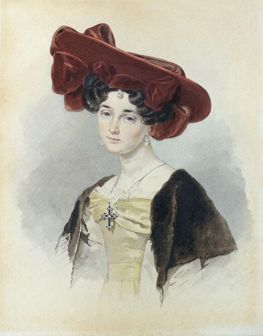 Соколов Петр Федорович Портрет неизвестной в темно-красной шляпе   1828.jpg