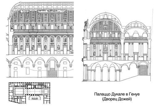 Палаццо Дукале в Генуе (Дворец Дожей), чертежи