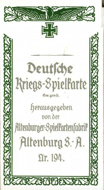 Spielkarten. Erster Weltkrieg