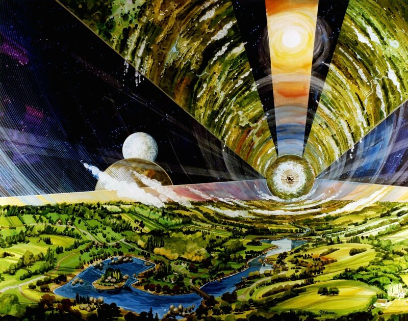 Cylinder Interior. Interior view looking out through large windows. Art work: Rick Guidice. Credit: NASA Ames Research Center. NASA ID AC75-1086