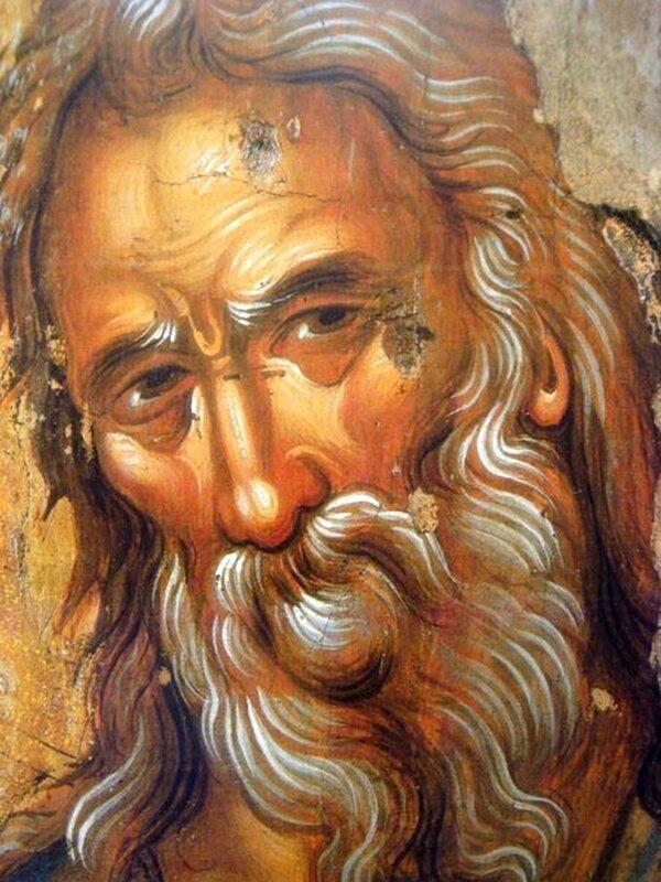 Святой Праведный Симеон Богоприимец. Греческая икона. Фрагмент.