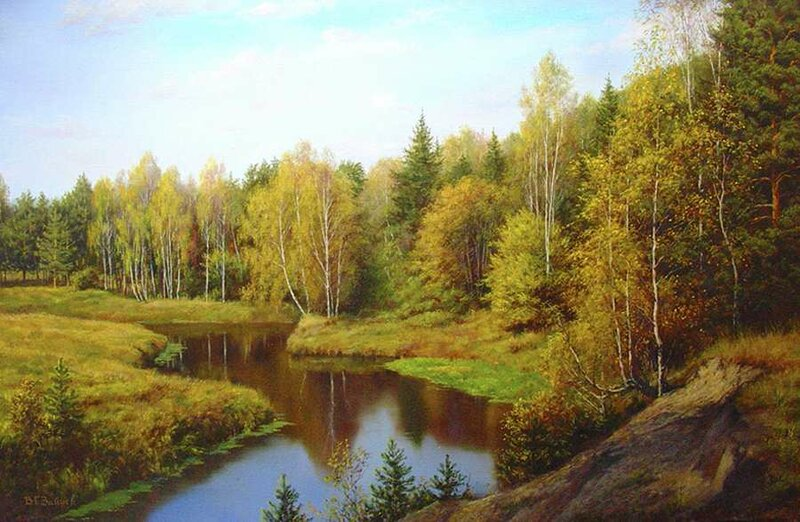 Дышу  смолистым ароматом, Любуюсь прелестью лесной. Художник Зайцев Александр
