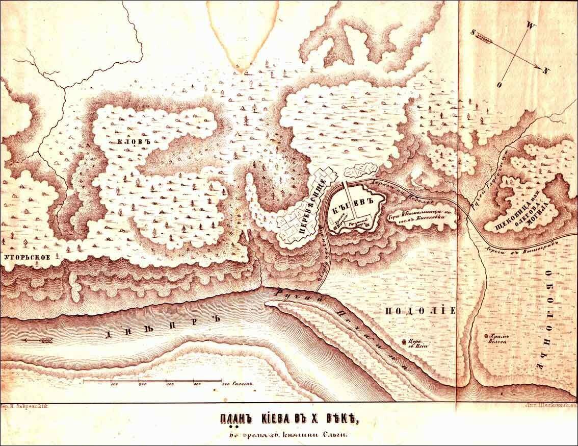 План Киева в Х веке