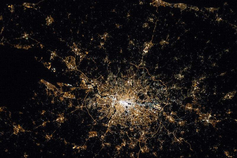 Лондон ночью из космоса
