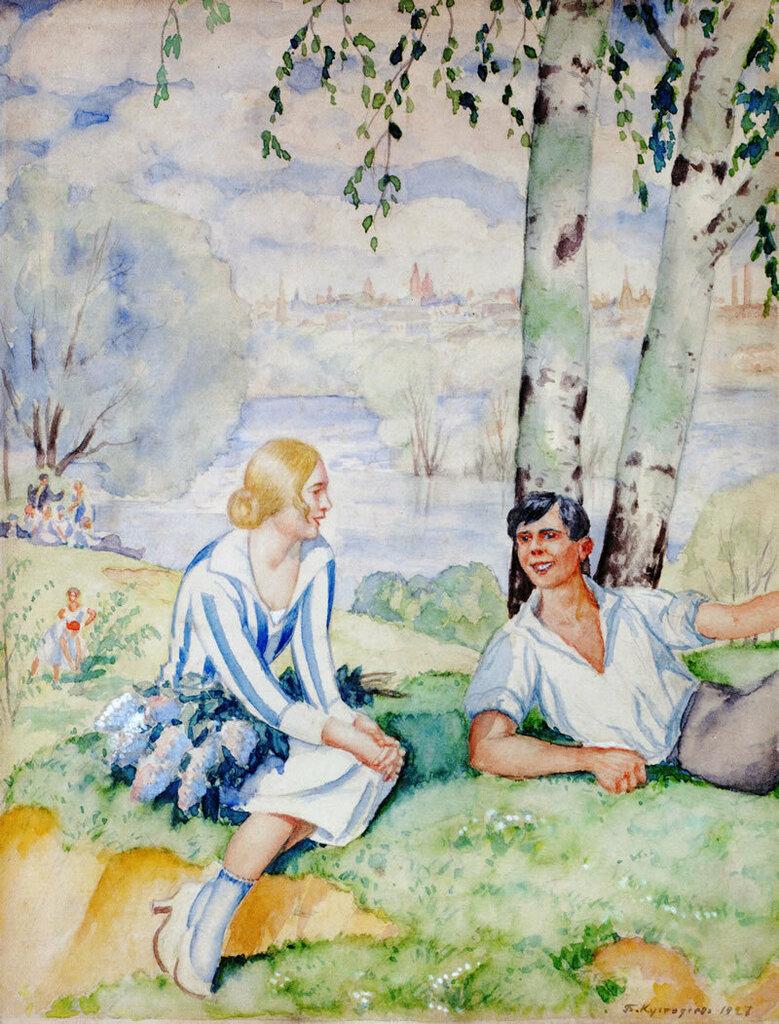 Boris Kustodiev, On the river-bank, 1927.jpg