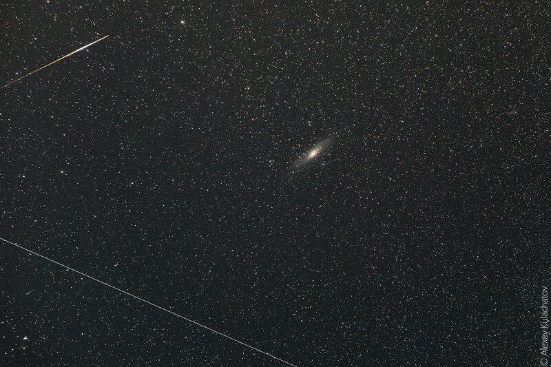 М31, метеор и спутник
