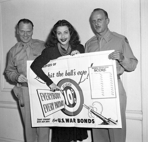 Hedy Lamarr selling war bonds.
