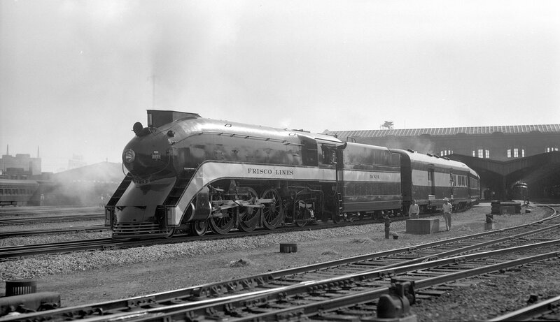 St. Louis-San Francisco 'The Firefly' train, engine number 1031, engine type 4- 6-2, Kansas City, Mo., July 20, 1940
