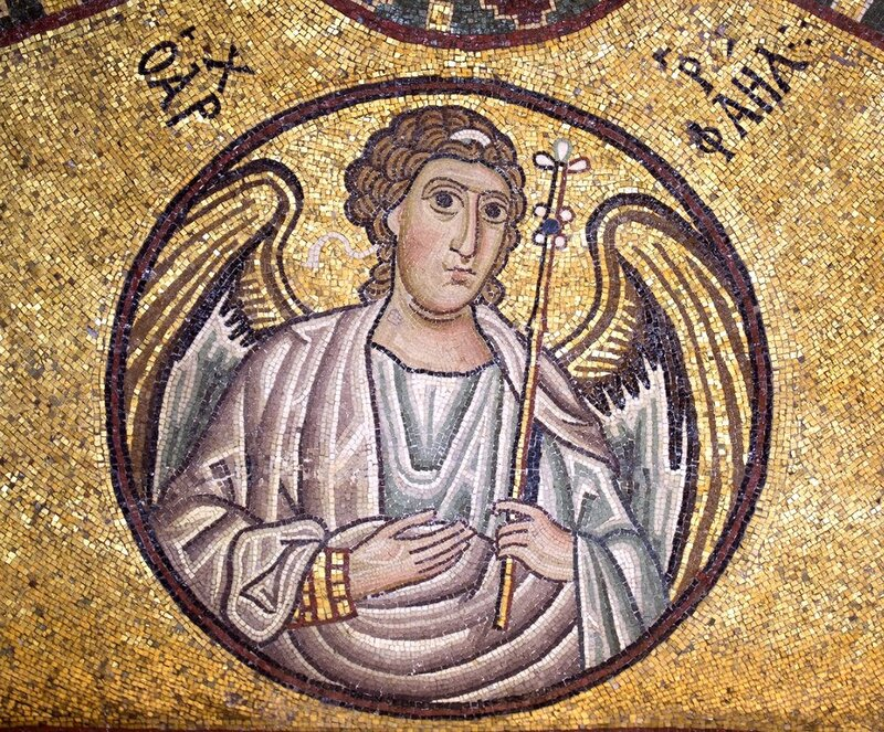 Архангел Рафаил. Мозаика монастыря Осиос Лукас (Преподобного Луки), Греция. 1030 - 1040-е годы.