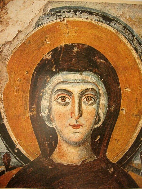 Пресвятая Богородица. Фреска в катакомбах Коммодиллы в Риме.