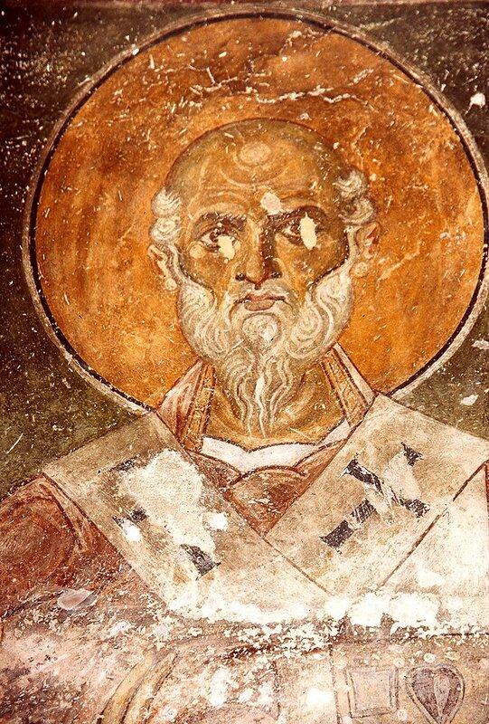 Святой Преподобный Нифонт, Епископ Кипрский. Фреска церкви Богоматери Елеусы в Велюсе, Македония. После 1080 года.