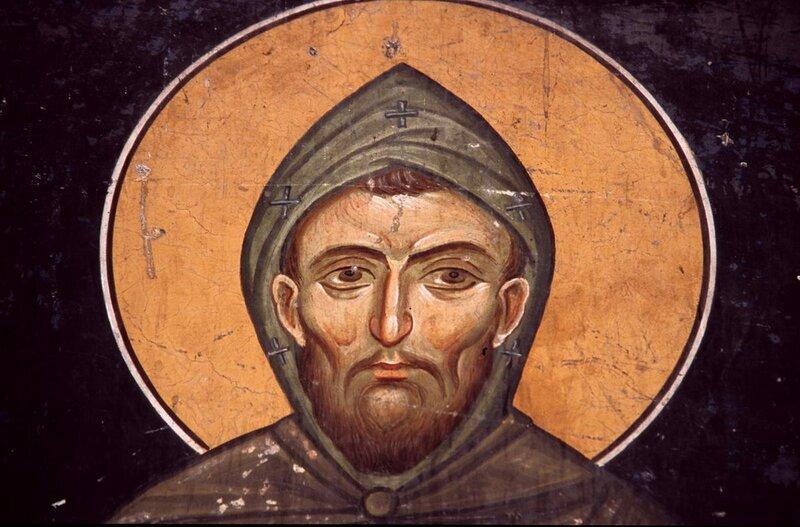 Святой Преподобный Гавриил Лесновский. Фреска Лесновского монастыря, Македония. XIV век.