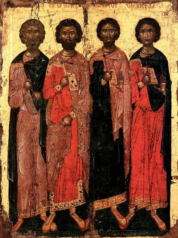Святые мученики Евгений, Кандид, Валериан и Акила. Икона в монастыре Дионисиат на Святой Горе Афон. 1577 год.