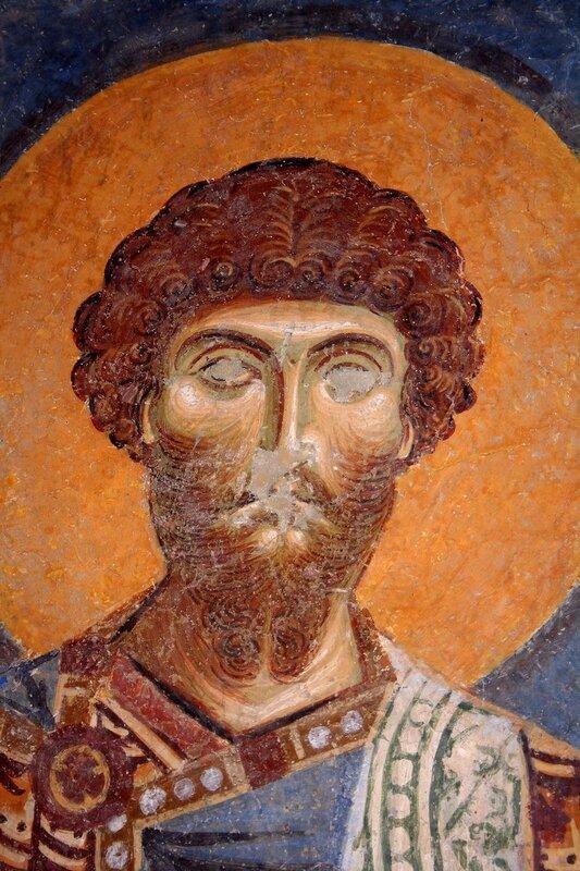 Святой Великомученик Феодор Стратилат. Фреска церкви Св. Пантелеимона в Нерези, Македония. 1164 год.