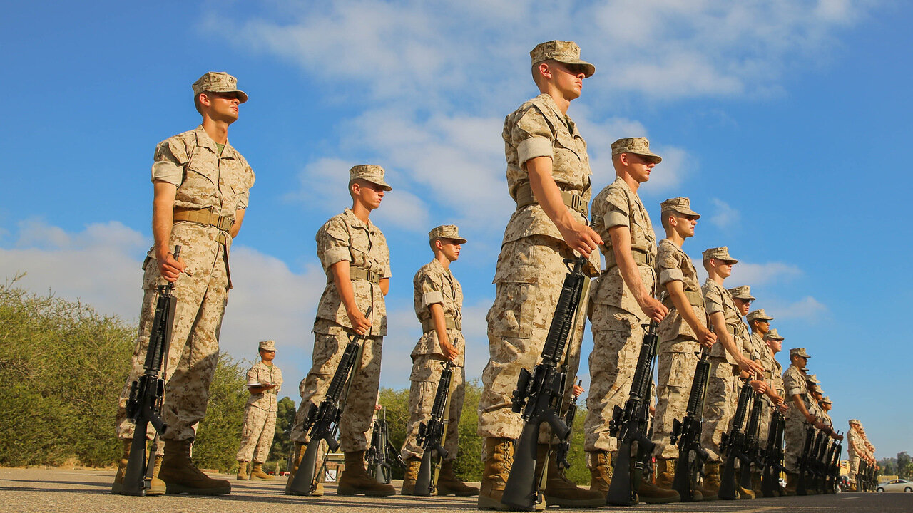 Recruits of India Company, 3rd Recruit Training Battalion, stand at parade rest as they await the senior drill Instructor's inspection at Marine Corps Recruit Depot San Diego, Sept. 5. 2014.jpg