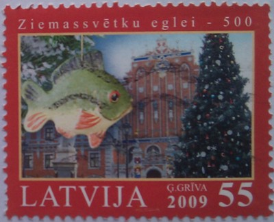 латвия 2009 рождество рыбка 55