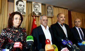 Tunisia's National Dialogue Quartet leaders before a news conference in Tunis